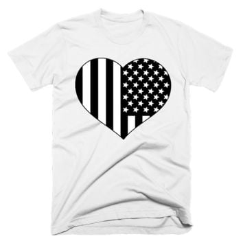 Black and White American Flag Heart Shirt