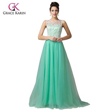 Grace Karin Long Lace Prom Dresses 2017 White Blue Black Green Pink Girl Party Formal Prom Gowns homecoming Dress 6108