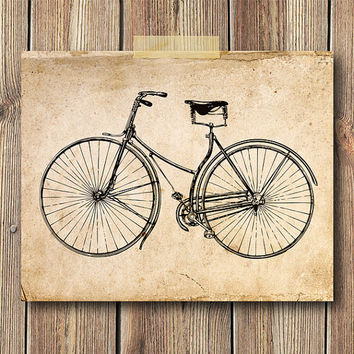 Vintage Bicycle Illustration Art Print, 8x10 Print, Wall art, Home decor, Rustic, Old paper, Book,