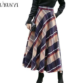 2017 Autumn Winter Women's Wool Woolen Skirt High Waist Female Long Red Plaid Skirt England A-line Ankle-length Woolen Skirts