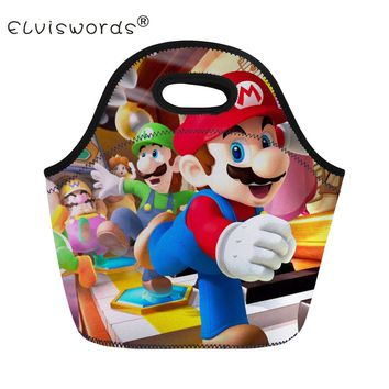 Super Mario party nes switch ELVISWORDS Insulation Lunch Bag Women Men Kids Adults Cartoon  Printing Portable Thermal Food Picnic Cooler Bag Tote AT_80_8