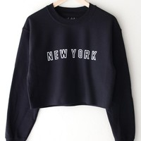 New York Oversized Cropped Sweatshirt
