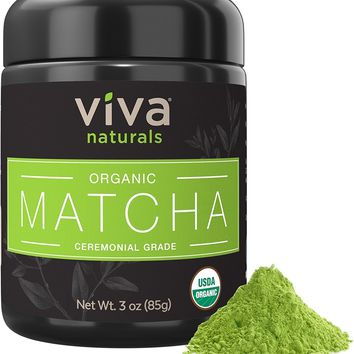 [Pack of 2] Viva Naturals Organic Matcha Green Tea Powder [3 oz] - Japanese Ceremonial Grade for Lattes, Smoothies and Baked Goods