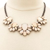 Faceted Stone Statement Necklace by Charlotte Russe - Lt Pink