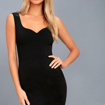 Count On It Black Sleeveless Bodycon Dress