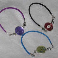 Elastic Bangle Bracelet, Indie Nail Polish Jewelry, Stretch Cord Bracelet, Interchangeable Connector Charms, OOAK Kids Jewelry