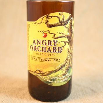 Drinking Glass from Recycled Angry Orchard Traditional Dry Beer Bottle, 8 oz, Unique Barware, Unique Gift, ONE glass