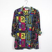 Vintage 1990s Silk Shirt Black Bright Rainbow Abstract Tribal Print Long Sleeve Button Up Neon Boyfriend Shirt 80s Blouse Collared Top L XL