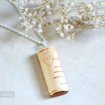 valentines day love  Real Birch Bark Personalized Pendant  by Goodthings88