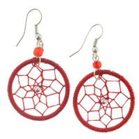 Dangling Red Dream Catcher Earrings - Hypoallergenic Earwires - Length 2""