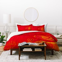 Stacey Schultz Circle World Red Duvet Cover