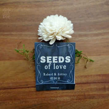 Wedding seed favors. Seeds of love matchbooks. 50 Personalized guest gifts. Blue watercolor. SF417