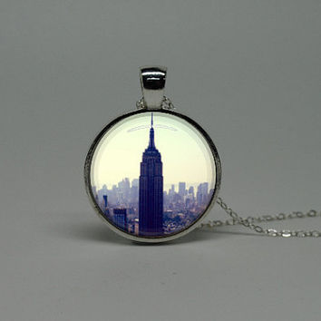 Silver Glass Necklace with Vinatge photo New york Empire state building