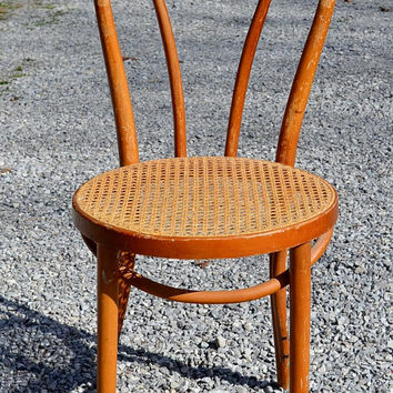 Vintage Thonet Style Bentwood Bistro Chair Woven Cane Seat Medium Light Tone Wood Dining Desk Chair No 3 PanchosPorch