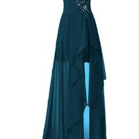Sunvary High Low Strapless Chiffon Bridesmaid Evening Dresses Prom Gowns Long