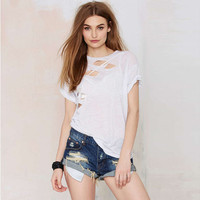 White Hollow Worn Out Style Short Sleeves Loose T-Shirt