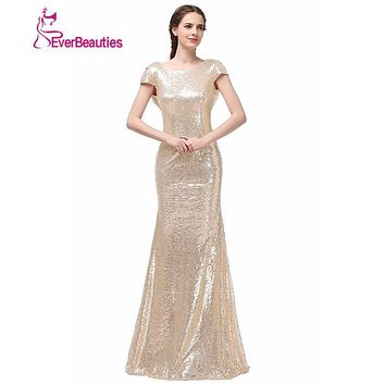 Long Cheap Bridesmaid Dresses 2016 Real Photo Champagne Gold High Neck Short Sleeve Sheath Shinning Sequined vestido de festa