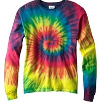 Tie-Dye 5.4 oz., 100% Cotton Long-Sleeve d T-Shirt>L REACTIVE RAINBOW CD2000