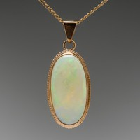 Vintage 9K Yellow Gold White Crystal Opal Pendant Necklace