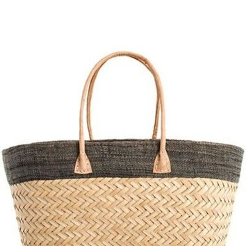 Chic Woven Straw Madagascar Handcrafted Shopper Bag