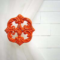 Window Treatments / Two Metal Curtain Tie Backs / Curtain Tiebacks / Curtain Holdback / Drapery Tie Back / Shabby Chic / Orange Decor