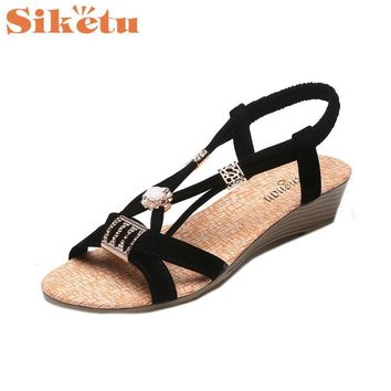 Women Sandals Elegance New Wedges Shoes Bohemia Beaded Leisure Lady Peep-Toe Outdoor S