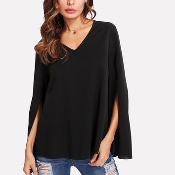 Black Split Sleeve Blouse