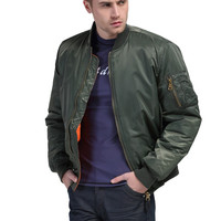 Men's Freelee Thin Style Military Motorcycle MA-1 Flight Pilot Air Force Bomber Jacket