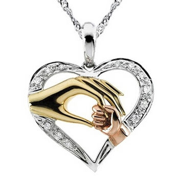 Mother and Baby Hand Heart Shape Pendant Necklace - Silver
