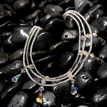 Three Strand Crystal Necklace CLEOPATRA by Passionflower Jewellery Designs