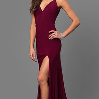 Wine Red Jersey V-Neck Long Prom Dress with Side Slit
