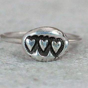 Unique Silver Bohemian 3 Heart Mother's Ring