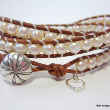 Freshwater Pearl Beaded Leather Wrap Bracelet Karen Hill Tribe Fine Silver Sand Dollar Button Cutout Heart Charm Country Girl Beaded Wrap