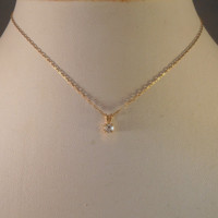 14K Gold Pendant Necklace Faux Diamond 1/3 ct, Box Chain 1.2 grams, Wedding Bridal Valentines Gift for Her
