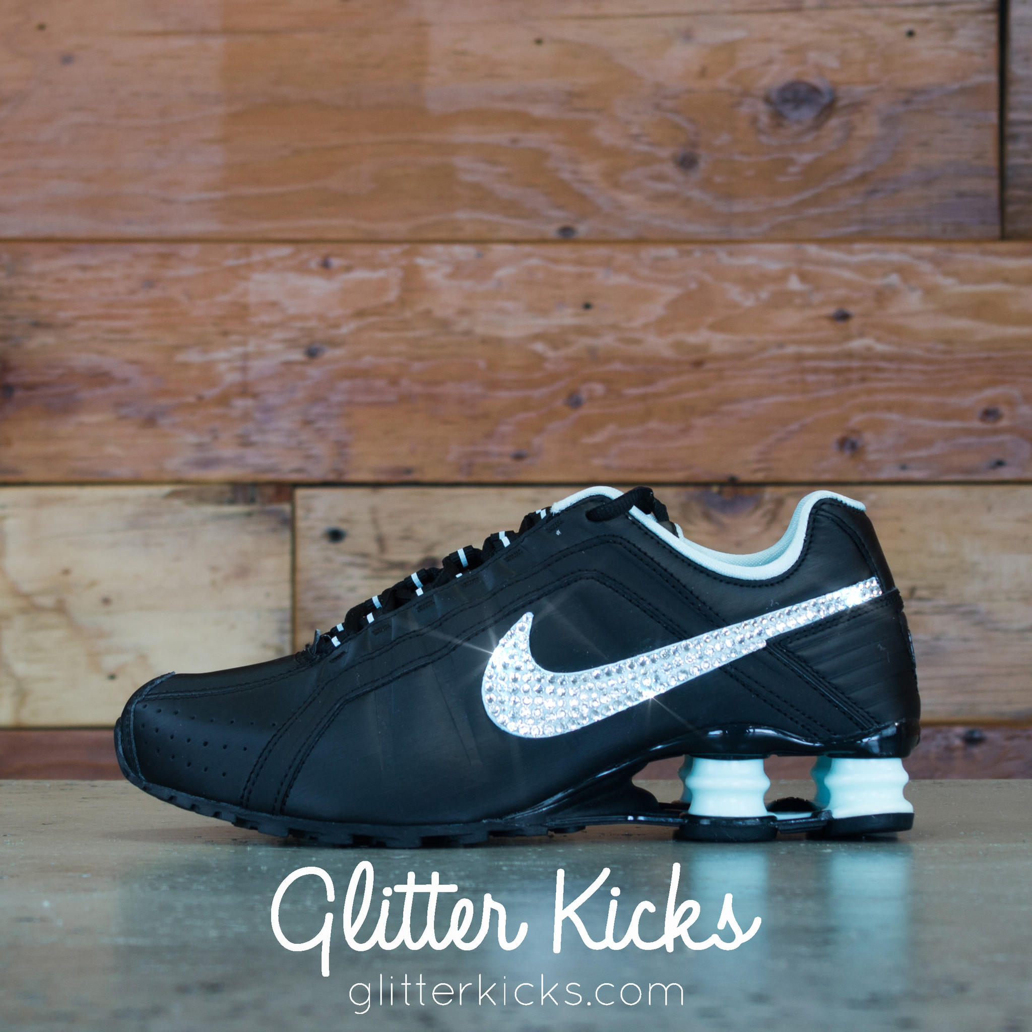 ... Nike Shox Current Glitter Kicks Running Shoes BlackTiffany. 17a19b3823