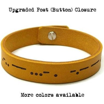 Secret Message Bracelet, Morse Code Bracelet, Custom Leather Bracelet, Hidden Message, Mens Bracelet, Morse Code Jewelry, Husband Gift