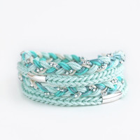 Mint wrap bracelet with silver plated tubes, knit bracelet, braid bracelet, mint bracelet. cord bracelet