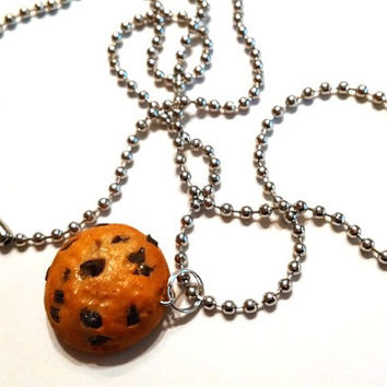 Chocolate Chip Cookie Necklace, Polymer Clay Food Jewelry