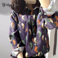 Women Fashion Corduroy Parrot Bird Prints Blouse 2016 Spring Ladies Casual Long Sleeve One Pocket Loose Office Shirts Tops Br202