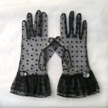 Short Black Gloves, Vintage Style Polka Dot Gloves, Lace Black Gloves, Wedding Gloves, Bridal Gloves, 1930s Gloves, Fashion Accessories