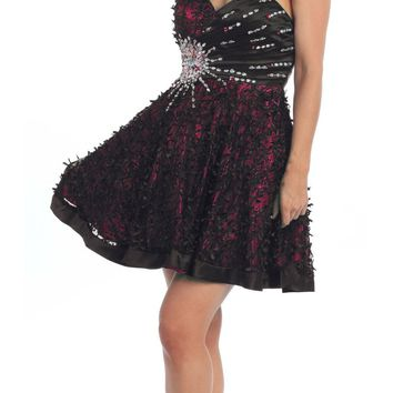 ON SPECIAL - LIMITED STOCK - Lace Overlay Black Fuchsia Short Dress A Line Strapless Rhinestones