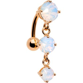 White Faux Opal Rose Gold Plated Trio Tier Top Mount Dangle Belly Ring