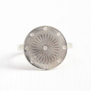 Antique Cufflink Ring - Vintage Sterling Silver Round Flower Conversion Jewelry - Size 6 3/4 Early 1900s Victorian Floral Statement