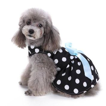 ONETOW Cute Polka Dot Ribbon dog clothes for small dogs girl DRESS dogs products for pets roupa pet cachorro