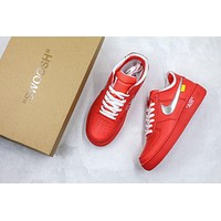 Off White X Nike Air Force 1 Af1 Low Red/silver