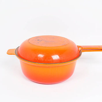 Cousances 22 Cast Iron Enamel Saucepan And Skillet Lid Flame Orange Made In France