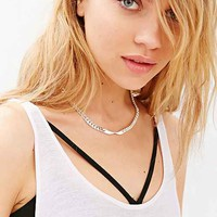 Bones + Feathers Faucted Collar Necklace- Silver One
