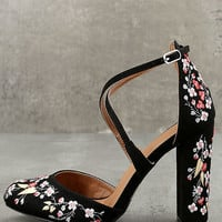Lottie Black Embroidered Ankle Strap Heels