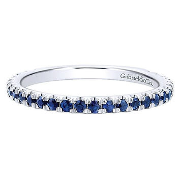 14K White Gold Sapphire Stackable Birthstone Ring