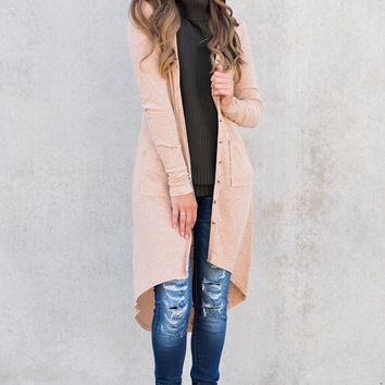 Button Me Up Long Sleeved Cardigan (Camel)